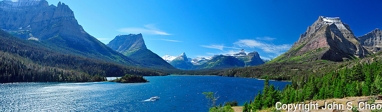 Panorama of the west end of St. Mary Lake with tourboat, Glacier National Park, Montana
