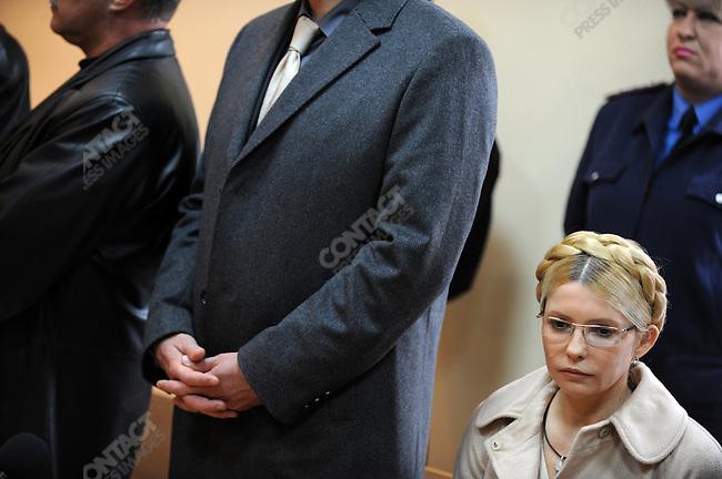 Former PM Yulia Tymoshenko sat stone faced in the Pechersky court as she was sentenced to 7 years imprisonment and a fine of 1.5 billion hryvna (190 million dollars or 140 million euros). Kiev, Ukraine, October 11, 2011