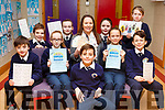 The students of Caherleaheen NS launch their Bingo Fundraiser for the school on Friday morning last<br /> Front l-r, Matthew Rogers, Connie Feeney, Nadal Rivas McHugh, Rachel Sargent and Will Leahy.<br /> Back l-r, Reece Long, Faye Diggin, Ms Clare Murphy (Deputy Principal), Lala Grace Galway and Enda Sheehan.