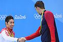 (L-R) Kosuke Hagino (JPN), Michael Phelps (USA), <br /> AUGUST 11, 2016 - Swimming : <br /> Men's 200m Individual Medley Medal Ceremony  <br /> at Olympic Aquatics Stadium <br /> during the Rio 2016 Olympic Games in Rio de Janeiro, Brazil. <br /> (Photo by Yohei Osada/AFLO SPORT)