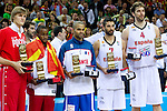 16.09.2011, Arena Zalgirio, Kaunas, LTU, FIBA EuroBasket 2011, Frankreich vs Russland, im Bild Best players of the tournament Andrei Kirilenko of Russia, Bo McCalebb of Macedonia, Tony Parker of France, Juan Carlos Navarro of Spain and Pau Gasol of Spain at medal ceremony after the final basketball game between National basketball teams of Spain and France at FIBA Europe Eurobasket Lithuania 2011, on September 18, 2011, in Arena Zalgirio, Kaunas, Lithuania. Spain defeated France 98-85 and became European Champion 2011. (Photo by Vid Ponikvar / Sportid. EXPA Pictures © 2011, PhotoCredit: EXPA/ Sportida/ Vid Ponikvar  +++++ ATTENTION - OUT OF SLOVENIA/(SLO) +++++