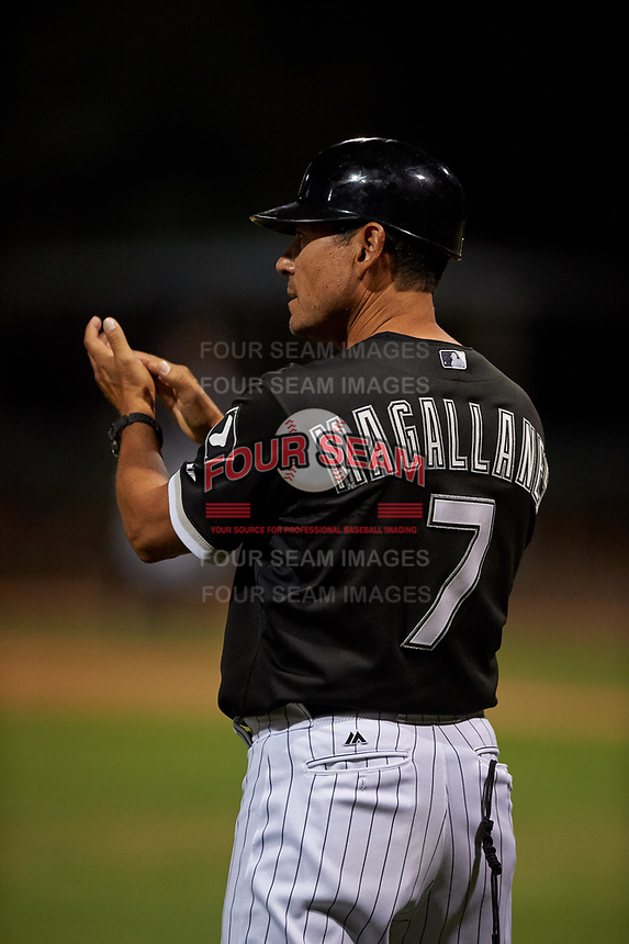 AZL White Sox manager Ever Magallanes (7) coaches third base during an Arizona League game against the AZL Indians Blue on July 2, 2019 at Camelback Ranch in Glendale, Arizona. The AZL Indians Blue defeated the AZL White Sox 10-8. (Zachary Lucy/Four Seam Images)