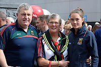 17-1-2017: Jim, Sheila and Maebh O'Shea, originally from Killorglin and parents of Mayo footballers Aidan and Conor O'Shea  the All-Ireland Football final at Croke Park on Sunday.<br /> Photo: Don MacMonagle