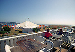 Looking at the Mendocino Music Festival Tent from the Bay View Cafe in Mendocino, California