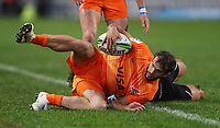 DURBAN, SOUTH AFRICA - JULY 14: Andre Esterhuizen of the Cell C Sharks tackling Ramiro Moyano of the Jaguares during the Super Rugby match between Cell C Sharks and Jaguares at Jonsson Kings Park on July 14, 2018 in Durban, South Africa. Photo: Steve Haag / stevehaagsports.com