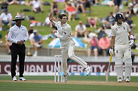 1st December 2019, Hamilton, New Zealand;  Mitchell Santner bowling.<br /> International test match cricket, New Zealand versus England at Seddon Park, Hamilton, New Zealand. Sunday 1 December 2019.