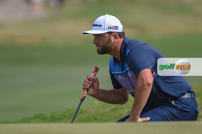 Jon Rahm (ESP) lines up his putt on 15 during day 2 of the WGC Dell Match Play, at the Austin Country Club, Austin, Texas, USA. 3/28/2019.<br /> Picture: Golffile | Ken Murray<br /> <br /> <br /> All photo usage must carry mandatory copyright credit (© Golffile | Ken Murray)