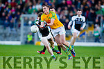 Brendan O'Sullivan South Kerry in action against Conor Keane  Legion at the Kerry County Senior Football Final at Fitzgerald Stadium on Sunday.