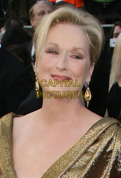 Meryl Streep.84th Annual Academy Awards held at the Hollywood & Highland Center, Hollywood, California, USA..February 26th, 2012.oscars headshot portrait gold dangling earrings  .CAP/ADM.©AdMedia/Capital Pictures.
