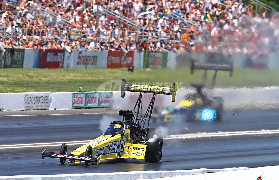 Jun. 1, 2013; Englishtown, NJ, USA: NHRA top fuel dragster driver Morgan Lucas during qualifying for the Summer Nationals at Raceway Park. Mandatory Credit: Mark J. Rebilas-