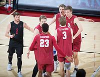 STANFORD, CA - March 14, 2019: Kyle Dagostino, Eric Beatty, Jaylen Jasper, Paul Bischoff, Jordan Ewert, Stephen Moye at Maples Pavilion. The #8 Stanford Cardinal fell to the #6 Pepperdine Waves 3-0.