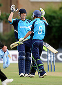 Scotland V India A - One Day friendly - at Citylets Titwood, Glasgow - all smiles for Scotland, with the last two batsmen, Gordon Goudie (left) and Ross Lyons, seeing Scotland home to an unlikely win, chasing down 276 to win in the last over. Goudie hit 26 off 20, and Lyons never faced a ball - Picture by Donald MacLeod 23.06.10 - mobile 07702 319 738