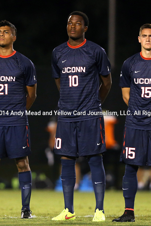05 September 2014: Connecticut's Cyle Larin (CAN). The Wake Forest University Demon Deacons hosted the University of Connecticut Huskies at W. Dennie Spry Soccer Stadium in Winston-Salem, North Carolina in a 2014 NCAA Division I Men's Soccer match. Wake Forest won the game 2-1 in sudden death overtime.
