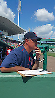 Boston Red Sox  manager John Farrell (53) during a Spring Training game against the New York Mets on March 16, 2015 at JetBlue Park at Fenway South in Fort Myers, Florida.  Boston defeated New York 4-3.  (Mike Janes/Four Seam Images)