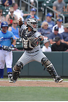 El Paso Chihuahuas catcher Ricardo Valenzuela (18) throws to second base during the game against the Omaha Storm Chasers at Werner Park on May 30, 2016 in Omaha, Nebraska.  El Paso won 12-0.  (Dennis Hubbard/Four Seam Images)