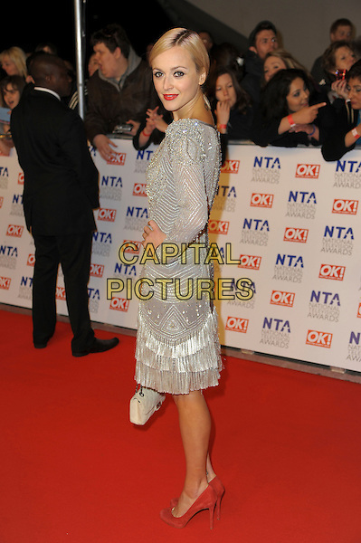 Fearne Cotton.arrivals at The National Television Awards, O2 Greenwich, London, England. 25th January 2012.NTA NTAS full length dress silver grey gray long sleeves hand on hip side beads beaded.CAP/CAS.©Bob Cass/Capital Pictures.