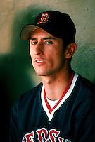 Nomar Garciaparra of the Boston Red Sox during a game at Anaheim Stadium in Anaheim, California during the 1997 season.(Larry Goren/Four Seam Images)