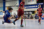 Mannheim, Germany, January 07: During the 1. Bundesliga Herren Hallensaison 2017/18 Sued  hockey match between Mannheimer HC (blue) and Nuernberger HTC (red) on January 7, 2018 at Irma-Roechling-Halle in Mannheim, Germany. Final score 7-4 (HT 2-2). (Photo by Dirk Markgraf / www.265-images.com) *** Local caption *** Teo Hinrichs #6 of Mannheimer HC