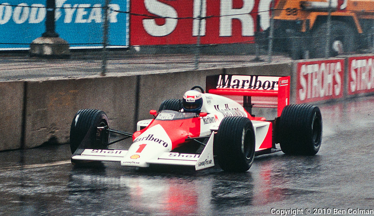 Alain Prost in the McLaren MP4-3, Detroit 1987