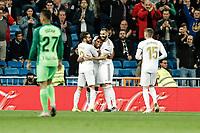 30th October 2019; Estadio Santiago Bernabeu, Madrid, Spain; La Liga Football, Real Madrid versus Leganes; Silva de Goes (Real Madrid)  celebrates his goal which made it 1-0 in the 7th minute - Editorial Use