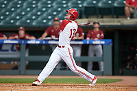 Brock Deatherage (13) of the North Carolina State Wolfpack follows through on his swing against the Boston College Eagles in Game Two of the 2017 ACC Baseball Championship at Louisville Slugger Field on May 23, 2017 in Louisville, Kentucky. The Wolfpack defeated the Eagles 6-1. (Brian Westerholt/Four Seam Images)