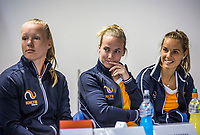 Bratislava, Slovenia, April 21, 2017,  FedCup: Slovakia-Netherlands, Draw ceremony, Durch table, ltr: Kiki Bertens, Richel Hogenkamp and Arantxa Rus.<br /> Photo: Tennisimages/Henk Koster