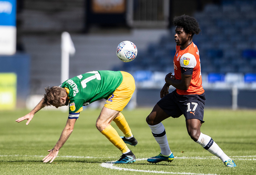 Preston North End's Paul Gallagher competing with Luton Town's Pelly Ruddock (right) <br /> <br /> Photographer Andrew Kearns/CameraSport<br /> <br /> The EFL Sky Bet Championship - Luton Town v Preston North End - Saturday 20th June 2020 - Kenilworth Road - Luton<br /> <br /> World Copyright © 2020 CameraSport. All rights reserved. 43 Linden Ave. Countesthorpe. Leicester. England. LE8 5PG - Tel: +44 (0) 116 277 4147 - admin@camerasport.com - www.camerasport.com