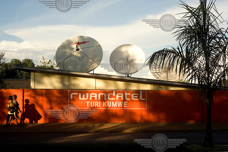 Satellite dishes on the roof of the headquarters of Rwandatel in Kigali. The company supplies mobile telephone and internet services throughout the country.