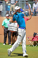 Aaron Baddeley (AUS) watches his tee shot on 17 during round 4 of the Valero Texas Open, AT&amp;T Oaks Course, TPC San Antonio, San Antonio, Texas, USA. 4/23/2017.<br /> Picture: Golffile | Ken Murray<br /> <br /> <br /> All photo usage must carry mandatory copyright credit (&copy; Golffile | Ken Murray)