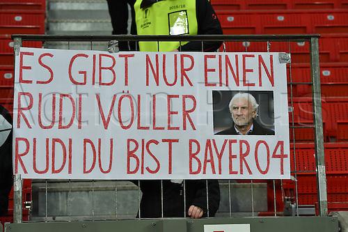 25.02.2016. Leverkusen, Germany. UEFA Europa League football. Bayer Leverkusen versus Sporting Lisbon.  Banner supporting Sporting director Rudi Voeller (Bayer 04 Leverkusen)
