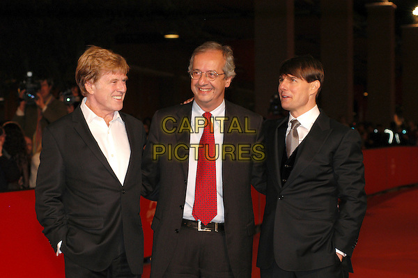 "ROBERT REDFORD, WALTER VELTRONI (Rome Mayor and leader of Italy's new centre-left Democratic Party) & TOM CRUISE.Red carpet arrivals for the film ""Lions For Lambs"" at the 2nd annual Rome Film Festival, Rome, Italy..October 23rd, 2007.half length black suit jacket hand in pocket .CAP/CAV.©Luca Cavallari/Capital Pictures."