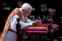 Pope Benedict XVI  the ceremony of the Good Friday Passion of the Lord Mass in Saint Peter's Basilica at the Vatican .April 10, 2009.