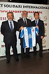 XIV Sopar Solidari de Nadal.<br /> Esport Solidari Internacional-ESI.<br /> Josep Maldonado con los representantes del Espanyol.
