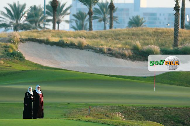 Local women on the 9th fairway during previews Fatima Bint Mubarak Ladies Open played at Saadiyat Beach Golf Club, Abu Dhabi, UAE. 09/01/2019<br /> Picture: Golffile | Phil Inglis<br /> <br /> All photo usage must carry mandatory copyright credit (© Golffile | Phil Inglis)