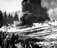 French soldiers using liquid fire to good advantage in front line trenches in France.  (Bureau of Medicine and Surgery)<br /> Exact Date Shot Unknown<br /> NARA FILE #:  052-S-2296<br /> WAR & CONFLICT BOOK #:  641