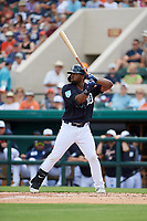Detroit Tigers left fielder Christin Stewart (14) at bat during a Grapefruit League Spring Training game against the New York Yankees on February 27, 2019 at Publix Field at Joker Marchant Stadium in Lakeland, Florida.  Yankees defeated the Tigers 10-4 as the game was called after the sixth inning due to rain.  (Mike Janes/Four Seam Images)