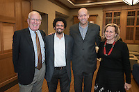 From left, The Huntington Library, Art Collections, and Botanical Gardens President Steven Koblik, Ray A. Billington Visiting Professor of History Frank Guridy, Occidental College President Jonathan Veitch and history professor and chair of the department Marla Stone. The Occidental College History Department hosts a dinner for the Ray Allen Billington Visiting Professorship in United States History, which Oxy co-founded with the Huntington Library, November 17, 2014 in Dumke Commons, Swan Hall. (Photo by Marc Campos, Occidental College Photographer)