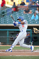 Yusniel Diaz (16) of the Rancho Cucamonga Quakes bats against the Lancaster JetHawks at The Hanger on April 19, 2016 in Lancaster, California. Rancho Cucamonga defeated Lancaster, 10-6. (Larry Goren/Four Seam Images)