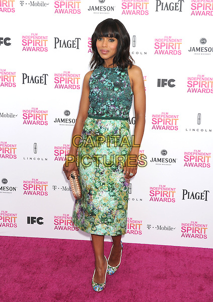 Kerry Washington.2013 Film Independent Spirit Awards - Arrivals Held At Santa Monica Beach, Santa Monica, California, USA,.23rd February 2013..indy indie indies indys full length green print dress shoes matching clutch bag  sleeveless floral .CAP/ROT/TM.©Tony Michaels/Roth Stock/Capital Pictures