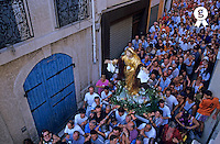 Faithful attending the Feast of the Assumption of the Blessed Virgin Mary in the Panier streets of Marseille, France  (Licence this image exclusively with Getty: http://www.gettyimages.com/detail/81867397 )