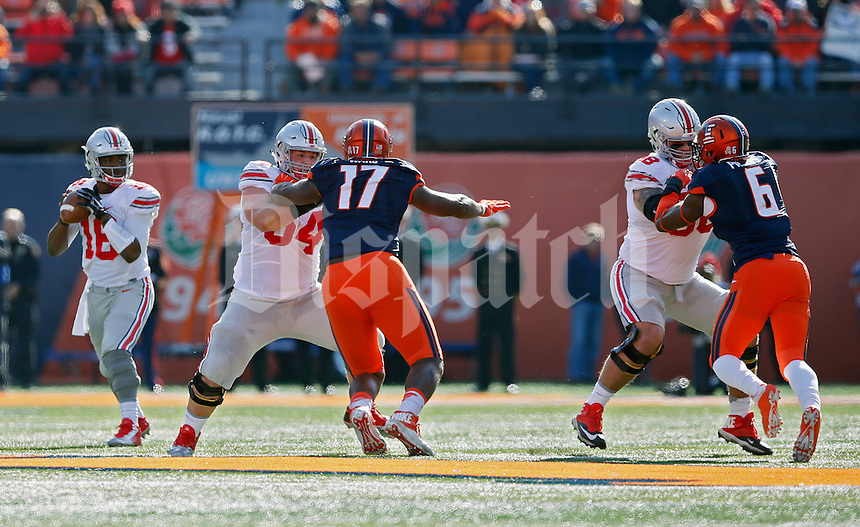 Ohio State Buckeyes offensive lineman Billy Price (54) and Ohio State Buckeyes offensive lineman Taylor Decker (68) against Illinois Fighting Illini at Memorial Stadium in Champaign, IL on November 14, 2015.  (Dispatch photo by Kyle Robertson)
