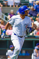 Iowa Cubs third baseman Jeimer Candelario (29) races to first base during a game against the Colorado Springs Sky Sox on September 4, 2016 at Principal Park in Des Moines, Iowa. Iowa defeated Colorado Springs 5-1. (Brad Krause/Four Seam Images)