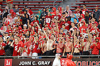 Ohio State Buckeyes student section cheers in the rain against Tulsa Golden Hurricane in the 4th quarter of their game at Ohio Stadium in Columbus, Ohio on September 10, 2016.  (Kyle Robertson / The Columbus Dispatch)