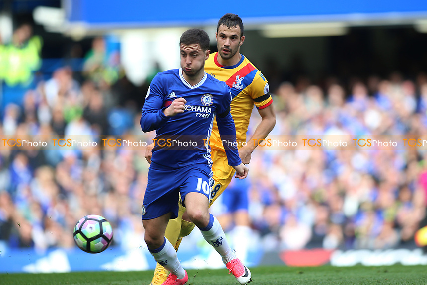 Eden Hazard of Chelsea and Luka Milivojevic of Crystal Palaceduring Chelsea vs Crystal Palace, Premier League Football at Stamford Bridge on 1st April 2017