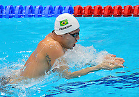 July 28, 2012: Thiago Pereira of Brazil competes in Men's 400m Individual Medley final event at the Aquatics Center on day one of 2012 Olympic Games in London, United Kingdom.