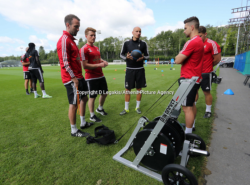 Thursday 09 July 2015<br /> Pictured: Jonny Northeast (L) and Jonjo Shelvey (C) by the Run Rocket<br /> Re: Swansea City FC pre-season training at Landore training ground, Swansea, south Wales, UK.
