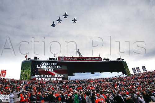 01.01.2017. Denver CO, USA.   Military Jets perform a fly over prior to a game between the Denver Broncos and the Oakland Raiders on January 01, 2017, at Sports Authority Field at Mile High, Denver, CO.  Denver defeated Oakland by a score of 24-6.
