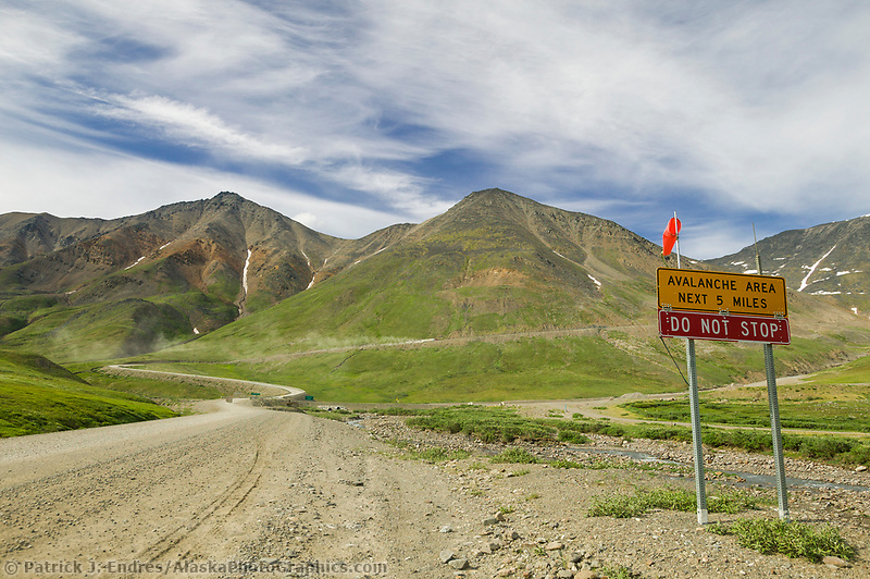 James dalton highway, also called the Haul Road, was built to construct and service the trans Alaska pipeline, Brooks Range, Alaska