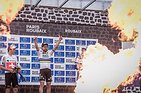 'Hell of the North' 2018 podium<br /> <br /> 1st place: World Champion Peter Sagan (SVK/Bora Hansgrohe)<br /> 2nd place Swiss Champion Silvan Dillier (SUI/AG2R La Mondiale)<br /> 3th place Niki Terpstra (NED/Quick Step Floors)<br /> <br /> 116th Paris-Roubaix (1.UWT)<br /> 1 Day Race. Compiègne - Roubaix (257km)