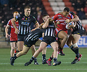 22nd March 2018, Select Security Stadium, Widnes, England; Betfred Super League rugby, Widness Vikings versus Salford Red Devils; Ben Nakuvuwai is tackled by Widnes  Vikikngs
